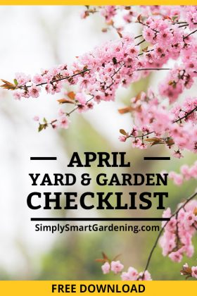 pink flowering tree text reads free april garden checklist